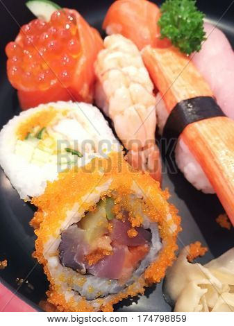 Sushi Set Japanese Rice Roll With Raw Fish (bento Set)