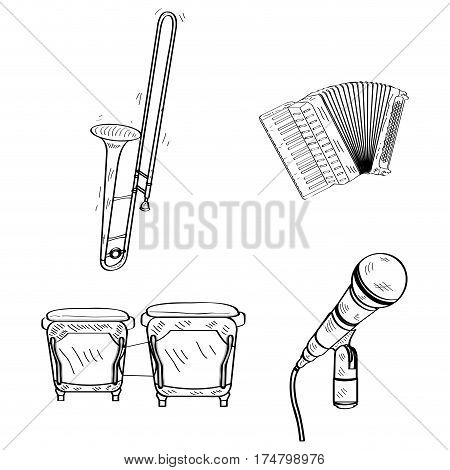 Set of outlines of different musical instruments, Vector illustration