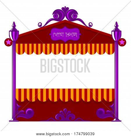 Puppet theater on a white background. Vector illustration of a puppet theater. Cartoon style. Stock vector