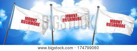 mount rushmore, 3D rendering, triple flags