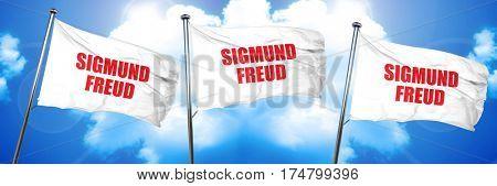 Sigmund freud, 3D rendering, triple flags