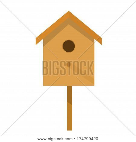 Wooden birdhouse on a white background isolate. Small house for birds in flat style. Birdhouse illustration. Stock vector