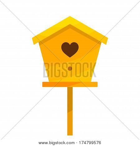 Yellow cardboard birdhouse on a white background. Isolate. Bird house with the heart. Stock vector