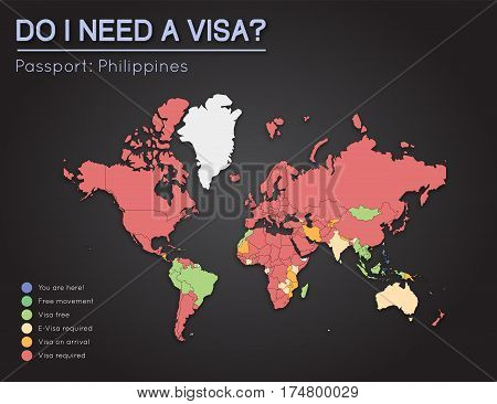 Visas Information For Republic Of The Philippines Passport Holders. Year 2017. World Map Infographic