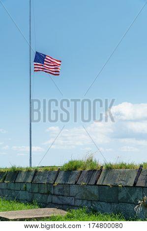 American Flag at Half Staff, Fort Monroe, Viriginia