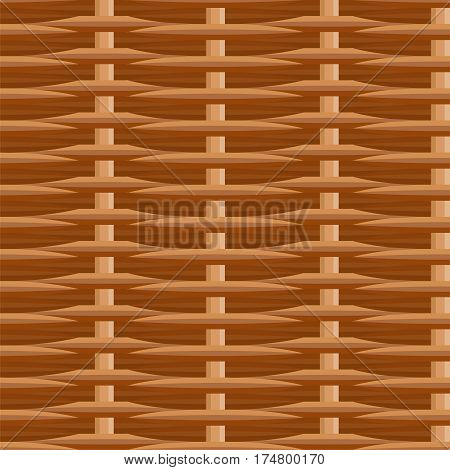 Wicker straw twigs seamless pattern. Brown vector illustration