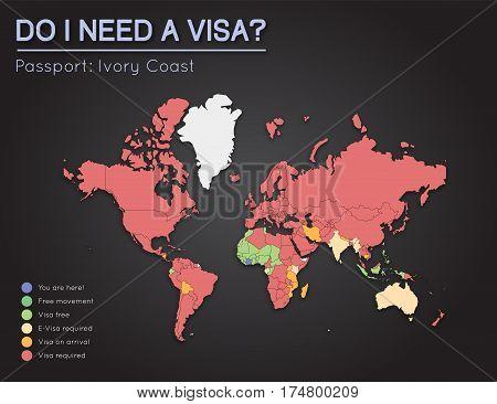 Visas Information For Republic Of Ivory Coast Passport Holders. Year 2017. World Map Infographics Sh