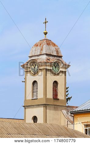 View of tower with clock of Saint Anna's roman catholic church (1802), Khust, Ukraine