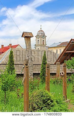 View from reformed Church (Elizabethan church XIII c.) on Tover of Saint Anna's roman catholic church, Khust, Ukraine
