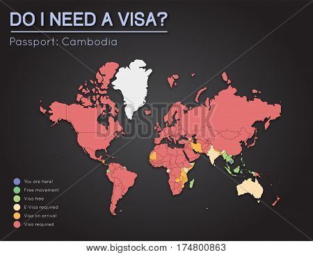 Visas Information For Kingdom Of Cambodia Passport Holders. Year 2017. World Map Infographics Showin