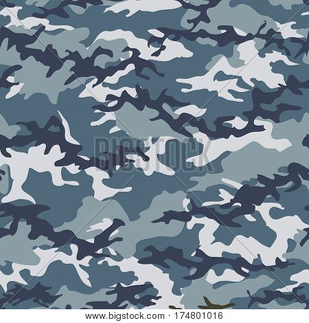 Camouflage seamless pattern background with blue spots. Military camouflage pattern. Fashionable camouflage textile. Military print. Seamless vector wallpaper. Clothing style masking. Repeat print.