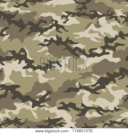 Camouflage seamless pattern background. Military camouflage pattern. Fashionable camouflage textile illustration. Military print. Seamless vector wallpaper. Clothing style masking. Repeat print.