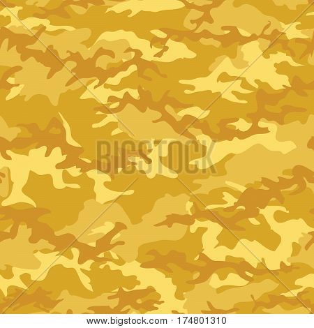 Seamless fashion woodland camouflage with yellow gold spots vector. Military camouflage pattern. Camouflage textile. Military print. Seamless wallpaper. Clothing style masking. Repeat print.