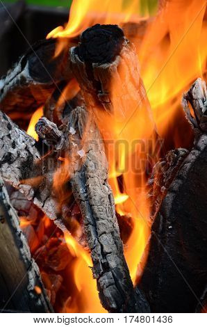 Fire - Burning wood in a brazier for barbecue