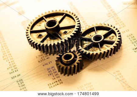 Operating budget and three mechanical ratchets in closeup
