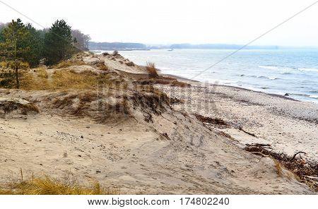 shore horizon sand dune view from height