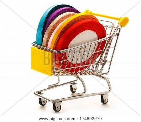 Market Pushcart With Ribbon Rolls