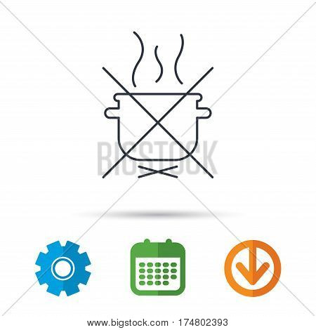 Boiling saucepan icon. Do not boil water sign. Cooking manual attenction symbol. Calendar, cogwheel and download arrow signs. Colored flat web icons. Vector