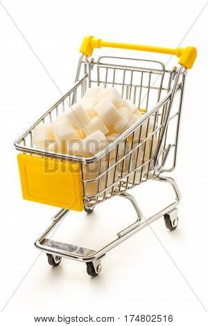 Supermarket Pushcart With Pile Of White Sugar