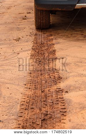 Tire Track On The Ground