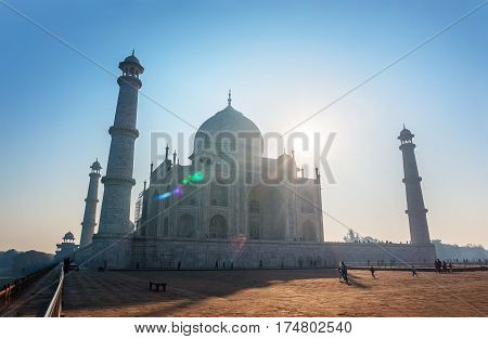 Taj Mahal India Sunset. Agra, Uttar Pradesh. The most famous Indian Muslim mausoleum in Agra in India Wonderful landscape.