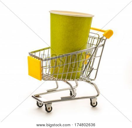 Green Paper Cups In Pushcart