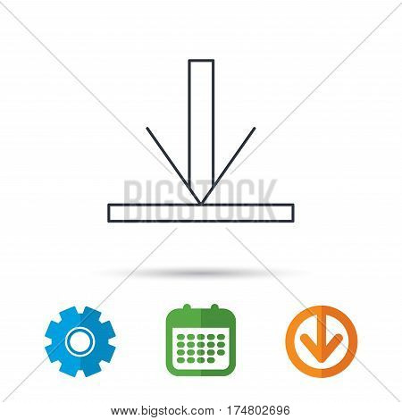 Download icon. Down arrow sign. Internet load symbol. Calendar, cogwheel and download arrow signs. Colored flat web icons. Vector