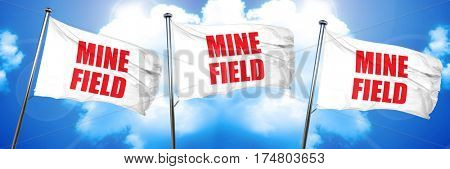 minefield, 3D rendering, triple flags