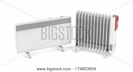 Electric convection and oil-filled heaters on white background, 3D illustration