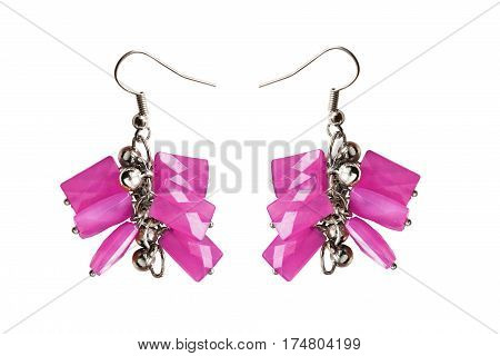 Pair of pink crystal earrings isolated over white