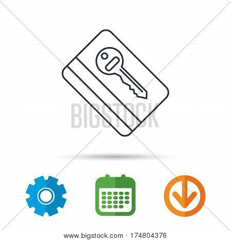 Electronic key icon. Hotel room card sign. Unlock chip symbol. Calendar, cogwheel and download arrow signs. Colored flat web icons. Vector