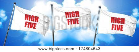 high five, 3D rendering, triple flags