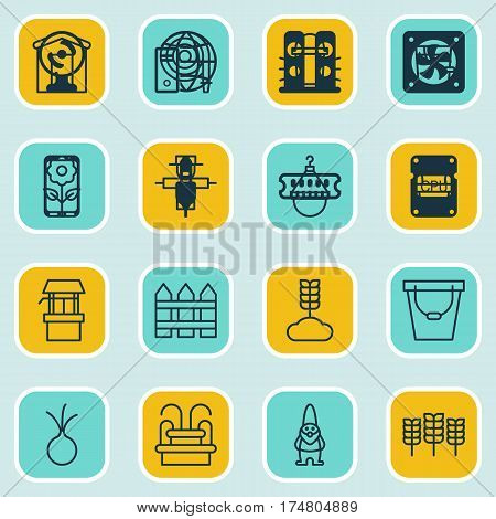 Set Of 16 Planting Icons. Includes Water Monument, Cereal, Bush Pot And Other Symbols. Beautiful Design Elements.