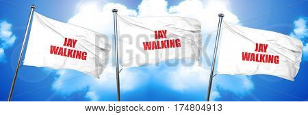 jaywalking, 3D rendering, triple flags