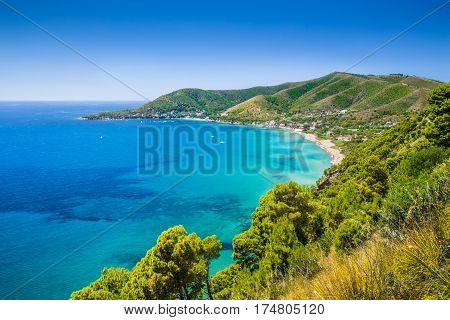 Panoramic View Of Beautiful Coastal Landscape At The Cilentan Coast, Province Of Salerno, Campania,