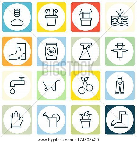 Set Of 16 Holticulture Icons. Includes Bailer, Water Source, Rubber Boot And Other Symbols. Beautiful Design Elements.