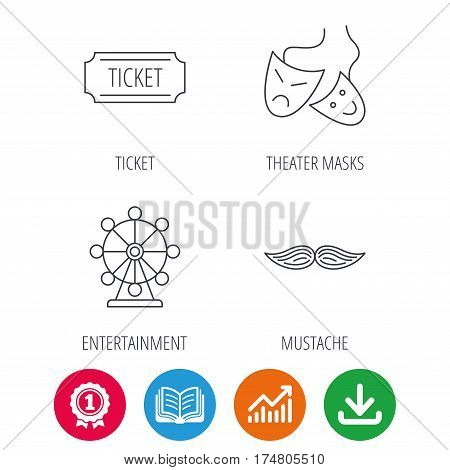 Ferris wheel, ticket and theater masks icons. Mustache linear sign. Award medal, growth chart and opened book web icons. Download arrow. Vector
