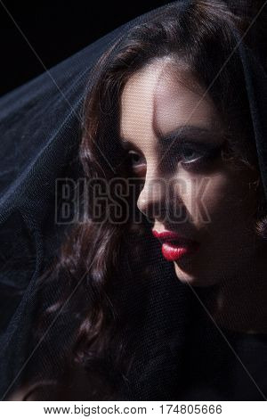 Gothic female face in a black veil looking away. Vertical studio shot.
