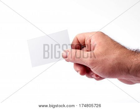 Business Cards Isolated On White Holding In Hands