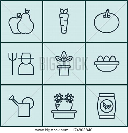 Set Of 9 Gardening Icons. Includes Fruits, Flowerpot, Floweret And Other Symbols. Beautiful Design Elements.