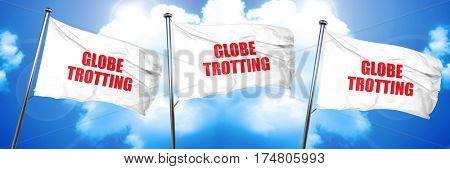 globe trotting, 3D rendering, triple flags