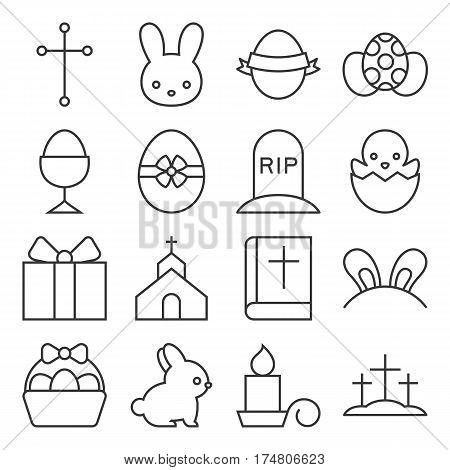 set of cute easter icon, thin line vector