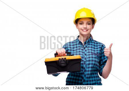 Young woman in industrial concept isolated on white