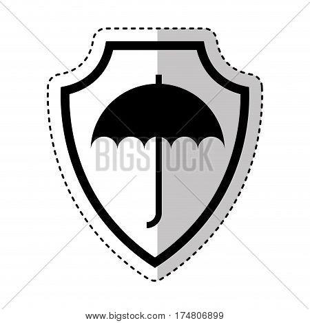 shield insurance with umbrella isolated icon vector illustration design