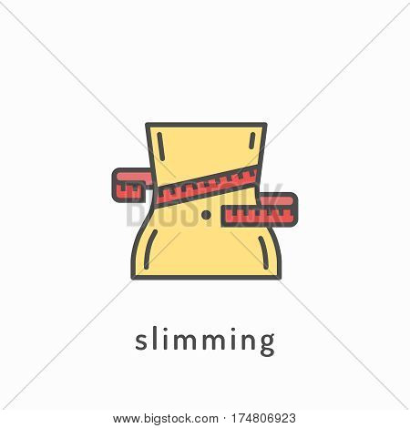 Slimming icon. Slimming loss weight, healthy lifestyle, healthy diet concept