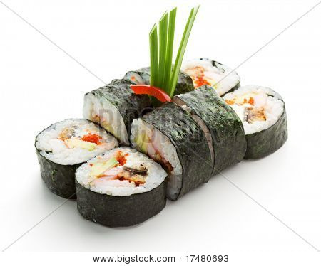 Japanese Cuisine - Sushi Roll with Shrimps and Conger, Avocado, Tobiko and Cheese