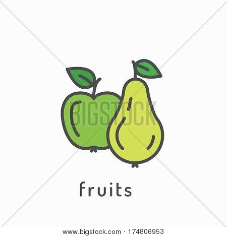 Fruits icon. Healthy diet, organic vegetarian food concept