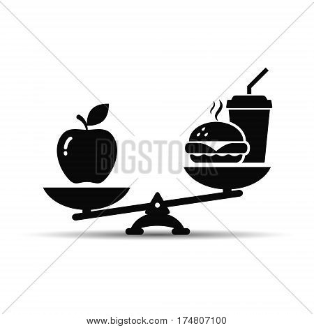 Scales with apple and hamburger fast food icon vector illustration balance between healthy and unhealthy food.