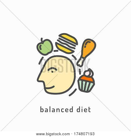 Balanced diet icon. Rational nutrition icon. Healthy lifestyle, balanced diet eating. Healthy diet concept