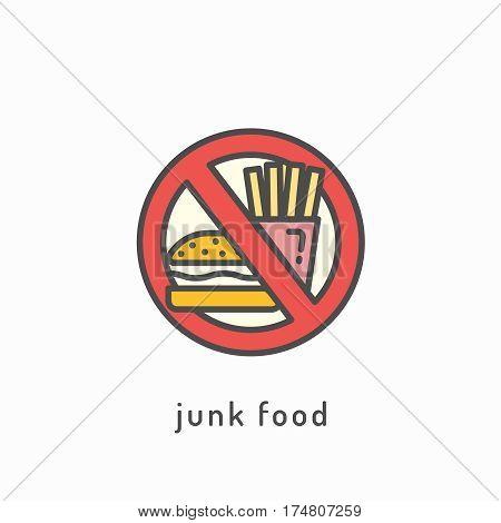 Junk food vector icon. Healthy diet concept